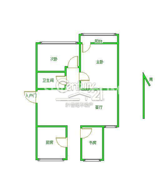 實驗2小學區房 城市中心縣府生活區87平3室 好樓層 僅售99萬 價格能大談戶型圖