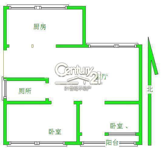 城北水利局東生活區 品質小區精裝2室2廳 好樓層 僅售75萬證過2年看房方便戶型圖